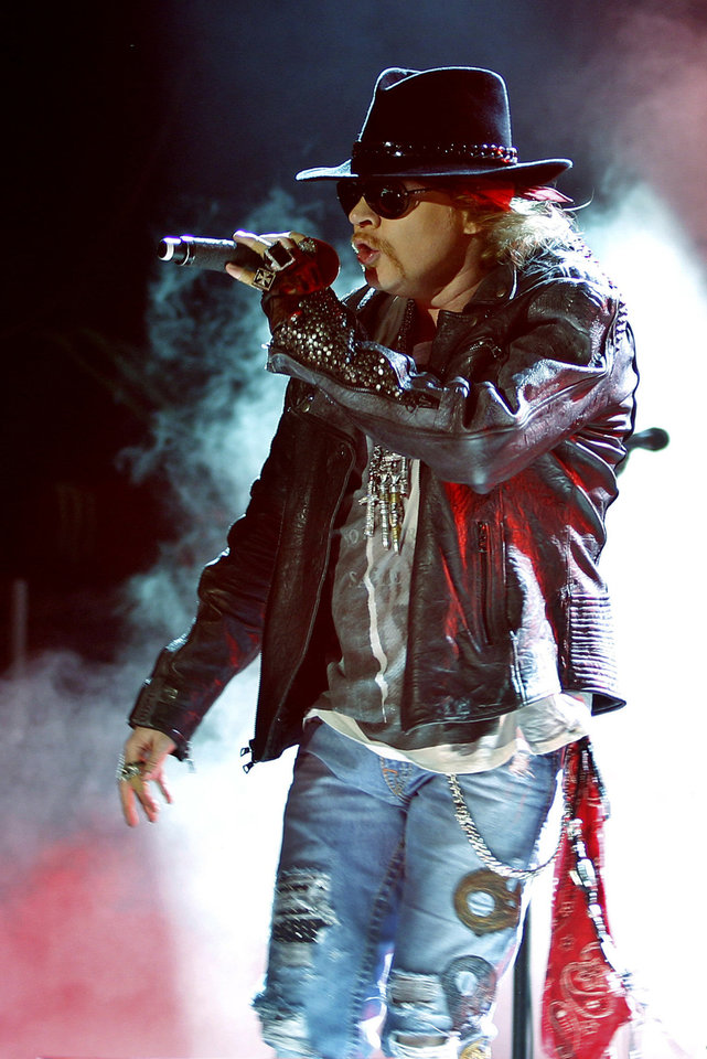 Axl Rose, lead vocalist of Guns N' Roses performs during their concert in Bangalore, India, Friday, Dec. 7, 2012. (AP Photo/Aijaz Rahi) <strong>Aijaz Rahi</strong>