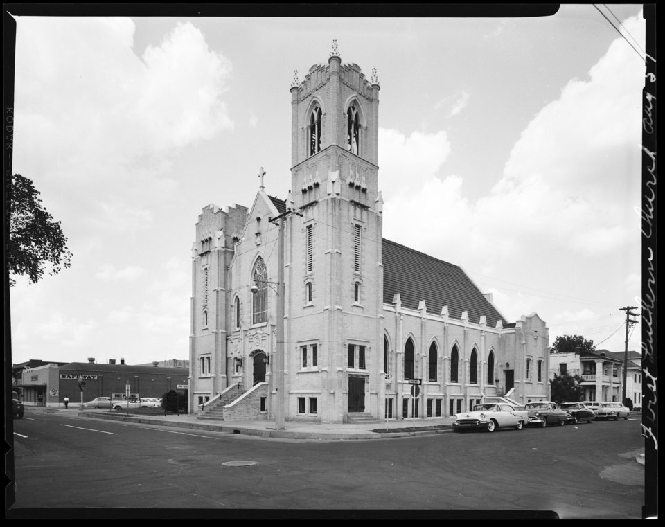 Photo - First Lutheran Church is pictured in the 1950s. OKLAHOMAN ARCHIVES PHOTO