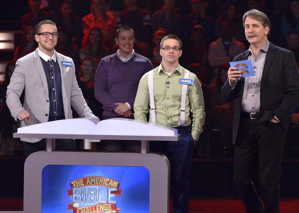 "Jesse, Joshua and Daniel Wagner appear on the Game Show Network's ""The American Bible Challenge"" with host Jeff Foxworth. Photo provided <strong>Lisa Rose</strong>"