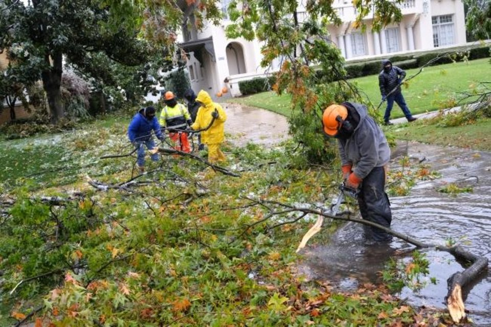 Photo -  Workers clear downed limbs and debris near NW 15 and Walker Avenue.  [Doug Hoke/The Oklahoman]