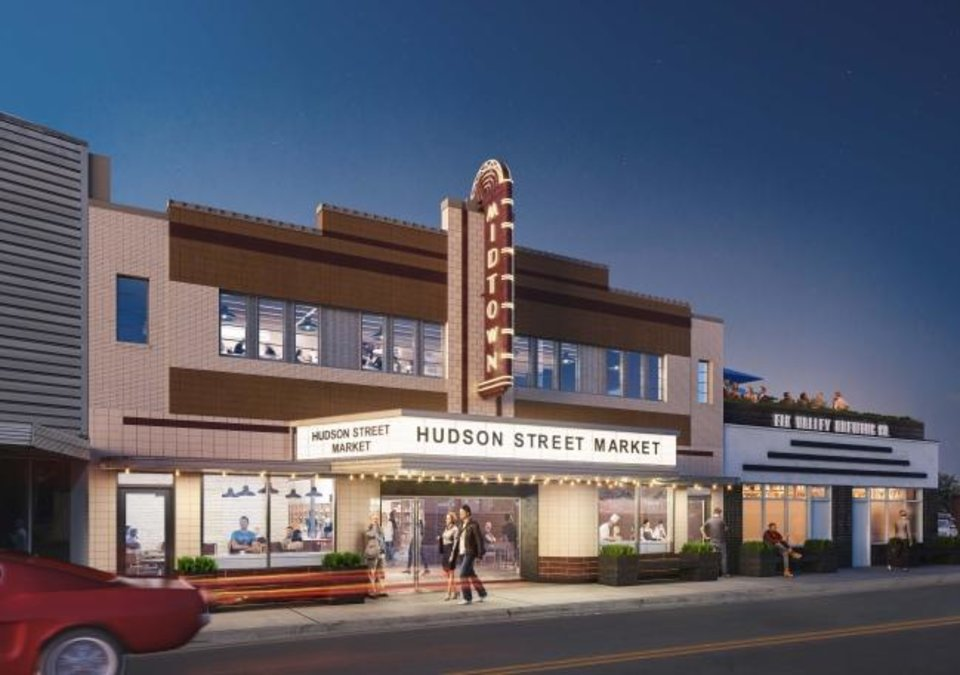 Photo -  The original plans for redeveloping the old Uptown Theater at 1210 N Hudson Ave. called for restoring it as a theater, including the rounded wider entrance, storefronts and marquee sign. [RENDERING BY ALLFORD HALL MONAGHAM MORRIS]