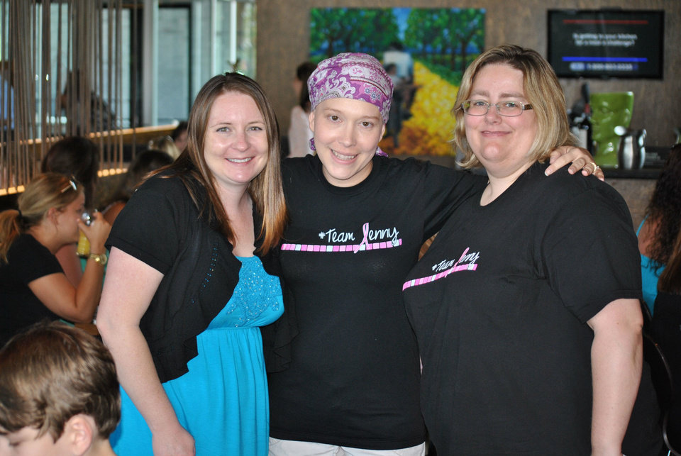 Photo - Robyn Hays, Jenny Herzberger and Krisan Patterson celebrate on July 13, 2013, a couple weeks after Jenny's chemotherapy treatments ended. PHOTO PROVIDED