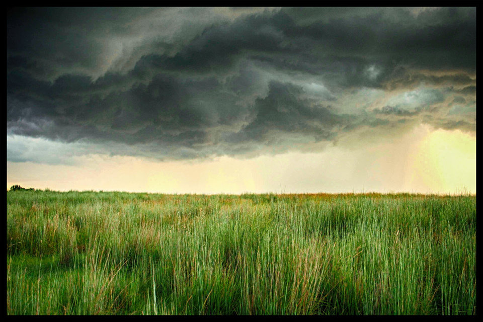 """Angry Prairie"" Image taken one mile south of Clinton, Oklahoma preceding springtime thunderstorm. Photo by Mark Meacham"