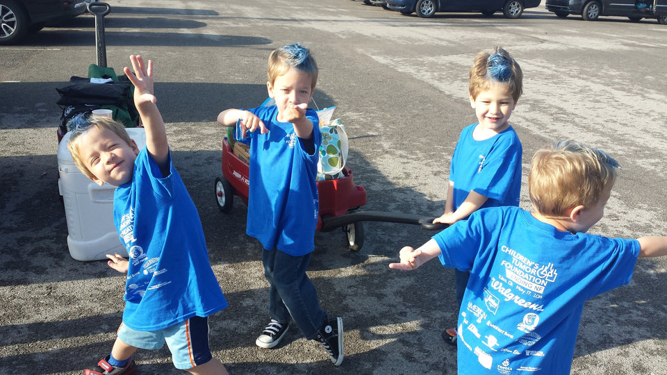 Photo -  Cooper, Wyatt, Logan and Allen Newby are quadruplets, three of whom have neurofibromatosis. Here, they participate in the Tulsa NF Walk. The boys were named Oklahoma's NF Heroes by the Cupid's Undie Run fundraising organization. The Undie Run is set for Valentines Day starting at The Wormy Dog Saloon in Bricktown. Photo provided.