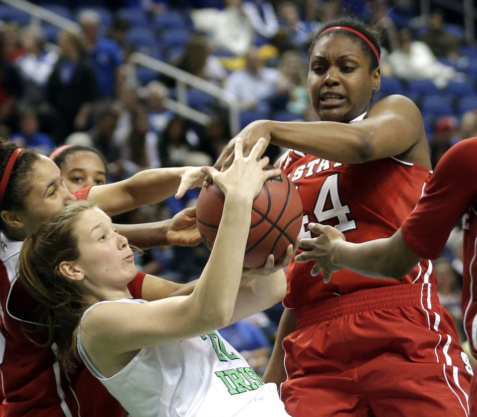 Photo - North Carolina State's Kody Burke (44) and Notre Dame's Madison Cable (22) battle for a rebound during the second half of an NCAA college basketball semifinal game at the Atlantic Coast Conference tournament in Greensboro, N.C., Saturday, March 8, 2014. Notre Dame won 83-48. (AP Photo/Chuck Burton)