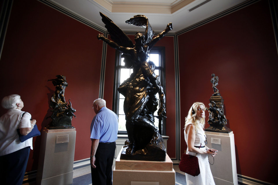 Guests view the newly restored interior of the Rodin Museum in Philadelphia.