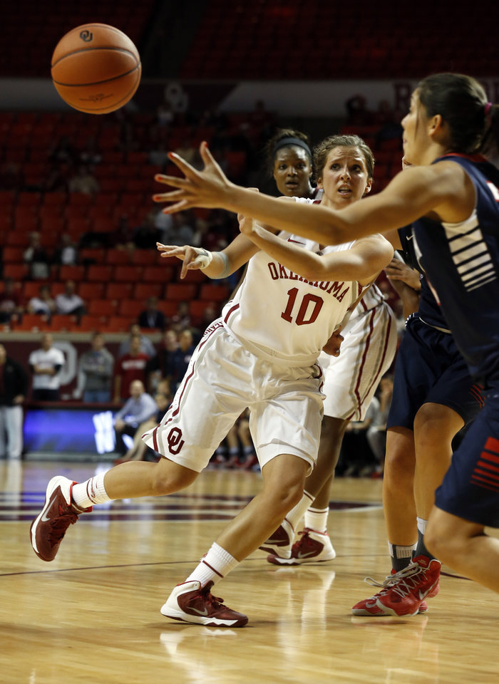 Photo - Oklahoma Sooner's Morgan Hook (10) passes in the second half as the University of Oklahoma Sooners (OU) defeat the Gonzaga Bulldogs 82-78 in NCAA, women's college basketball at The Lloyd Noble Center on Thursday, Nov. 14, 2013  in Norman, Okla. Photo by Steve Sisney, The Oklahoman