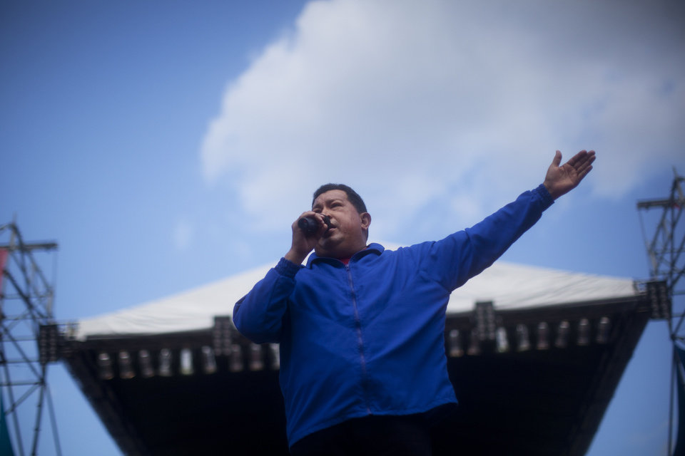 Venezuela's President Hugo Chavez delivers a speech during a campaign rally in Maracay, Venezuela, Wednesday, Oct. 3, 2012. Chavez is running for re-election against opposition candidate Henrique Capriles in presidential elections on Oct . 7. (AP Photo/Rodrigo Abd)