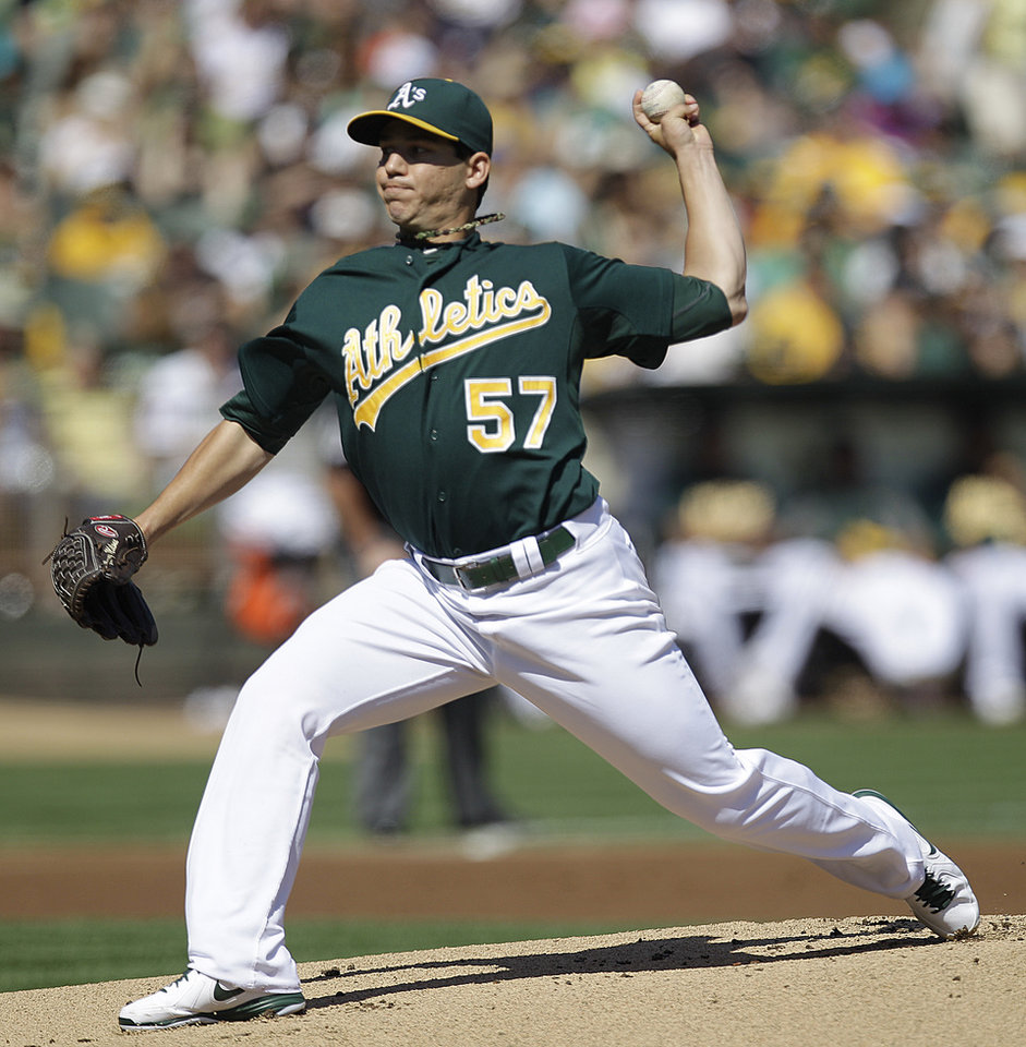 Oakland Athletics' Tommy Milone works against the Seattle Mariners in the first inning of a baseball game Sunday, Sept. 30, 2012, in Oakland, Calif. (AP Photo/Ben Margot)