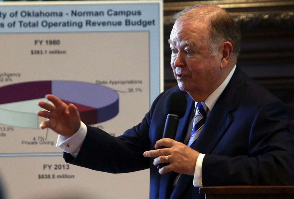 OU's  President David Boren speaks about funding at the University of Oklahoma on Tuesday.  Photo by Steve Sisney, The Oklahoman <strong>STEVE SISNEY</strong>