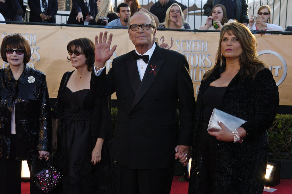 "Photo - James Garner, who will accept the 41st annual life achievement award, arrives with his family including his wife Lois Clarke, far left, for the 11th annual Screen Actors Guild Awards in this Saturday, Feb. 5, 2005 file photo taken in Los Angeles. Actor James Garner, wisecracking star of TV's ""Maverick"" who went on to a long career on both small and big screen, died Saturday July 19, 2014 according to Los angeles police. He was 86. (AP Photo/Chris Pizzello, File)"