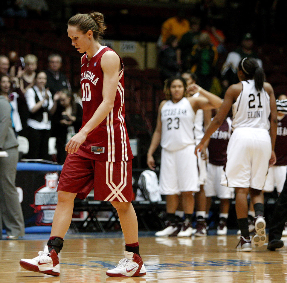 OU's Carlee Roethlisberger (10) walks off the court after OU's loss in the women's college basketball Big 12 Championship tournament game between the University of Oklahoma and Texas A&M in Kansas City, Mo., Friday, March 11, 2011.  Photo by Bryan Terry, The Oklahoman