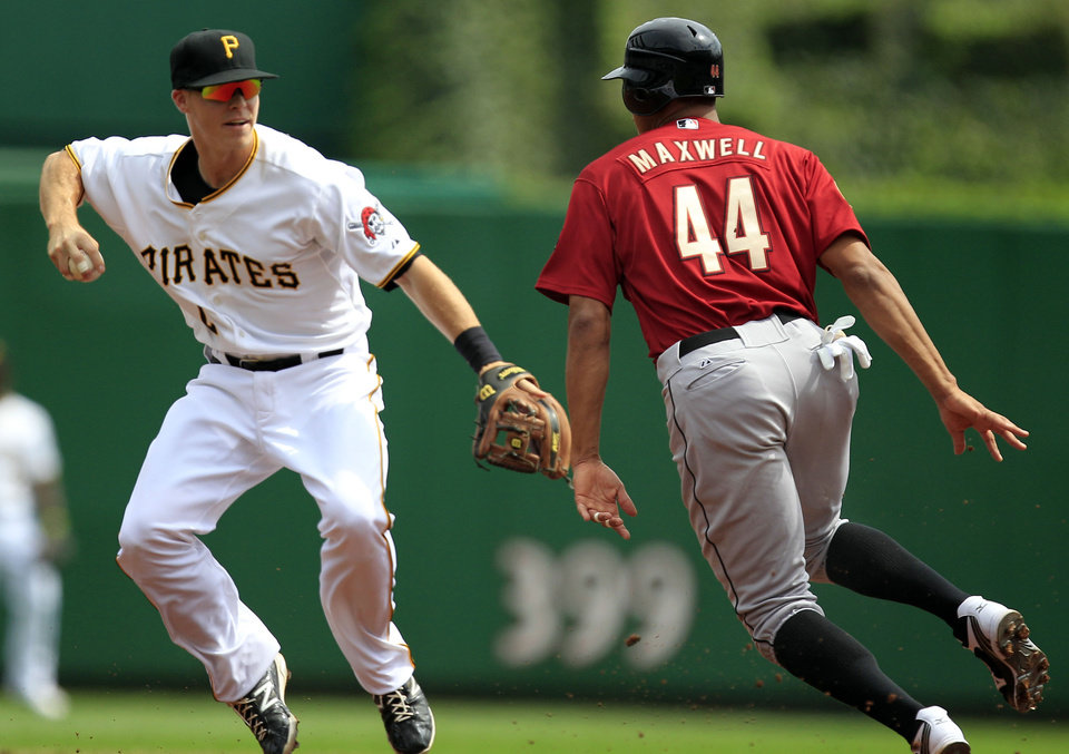 Photo -   Pittsburgh Pirates Pittsburgh Pirates second baseman Brock Holt, left, fields a ground ball in the baseline between first and second as Houston Astros' Justin Maxwell (44) runs around the tag during the first inning of a baseball game in Pittsburgh Monday, Sept. 3, 2012. Maxwell was called safe at second on the play. (AP Photo/Gene J. Puskar)