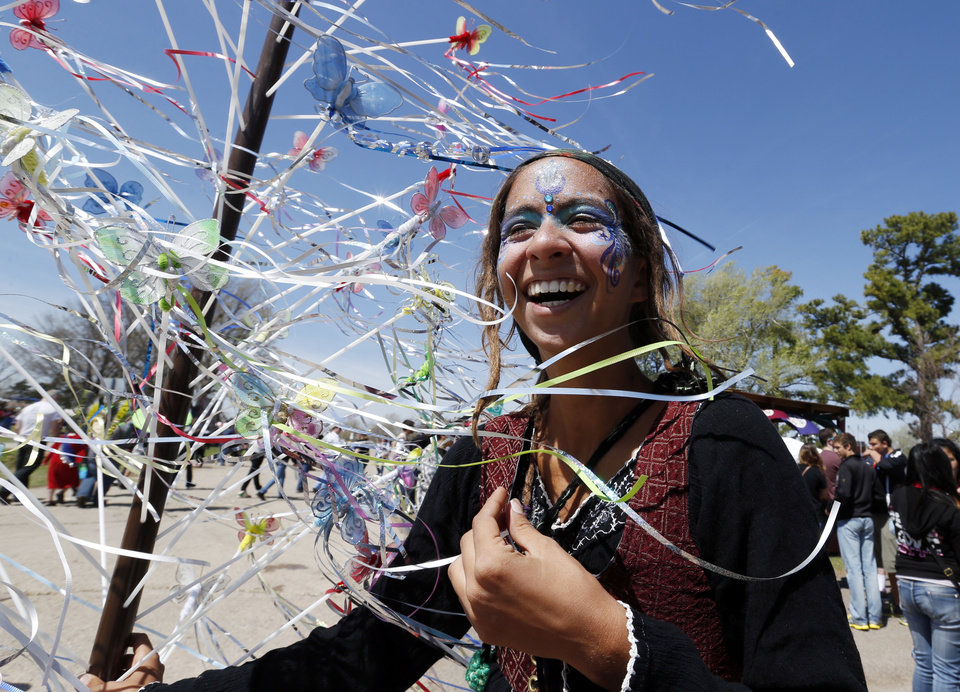 Annie Llamas, Miami, Florida resident, sells fairy wands during the Medieval Fair at Reaves Park on Friday, April 5, 2013 in Norman, Okla.  Photo by Steve Sisney, The Oklahoman