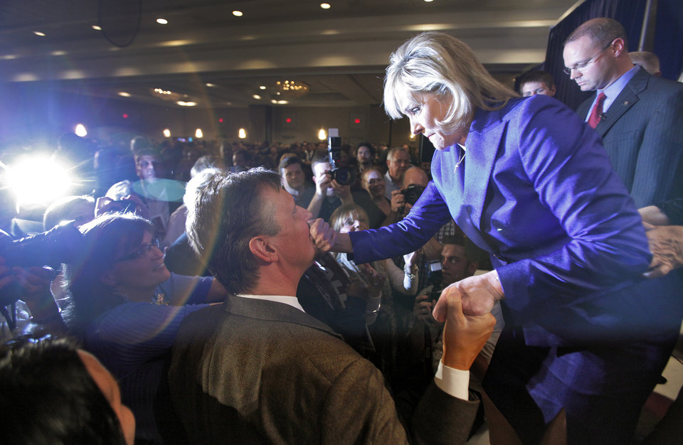 Photo - Governor elect Mary Fallin greets supporters at the republican Watch Party at the Marriott on Tuesday, Nov. 2, 2010, in Oklahoma City, Okla.   Photo by Chris Landsberger, The Oklahoman