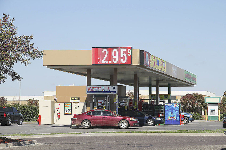 The Murphy USA station at 104th and South Western in Oklahoma City sold gasoline Friday for $2.95 a gallon. The average price of gasoline in Oklahoma City has dropped 50 cents during the past month. Photos by Adam Wilmoth, The Oklahoman
