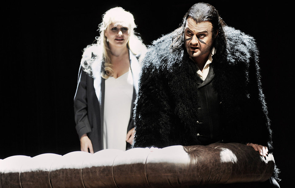 In this undated photo provided by the Opernhaus Zurich Bryn Terfel in the role of the Hollaender (Dutchman), right, and Anja Kampe as Senta, left, perform on stage during a dress rehearsal for Richard Wagner\'s opera