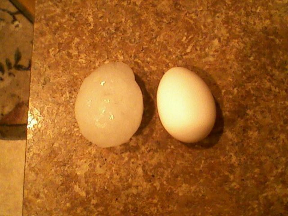 A hailstone as big as an egg was found by Brian Ridge of Yukon.