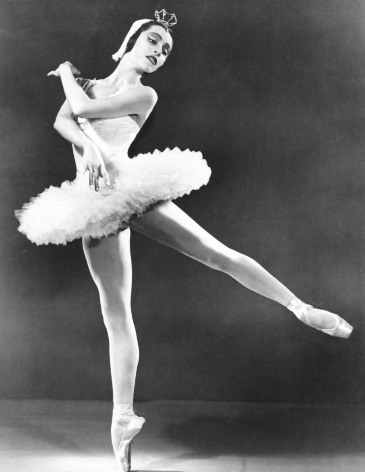 "FILE - This May 1954 file photo shows Maria Tallchief, prima ballerina of the New York City Ballet, in New York. Tallchief died Thursday, April 11, 2013, in Chicago at the age of 88. She joined the company that would become the New York City Ballet in 1948 and was married for a time to George Balanchine, who founded the School of American Ballet in New York. Tallchief worked with Balanchine on such masterpieces as 1949's ""Firebird"" and his now-historic version of ""The Nutcracker."" (AP Photo/The Cleanliness Bureau) ORG XMIT: NYET275"