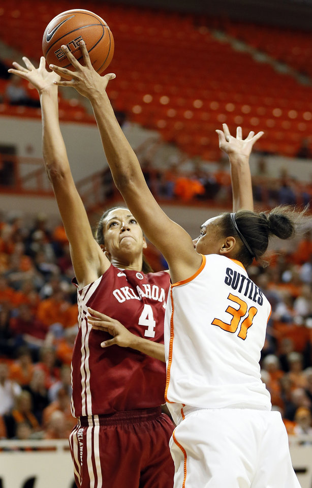Photo - Oklahoma's Nicole Griffin (4) blocks the shot of Oklahoma State's Kendra Suttles (31) during the Bedlam women's college basketball game between Oklahoma State University (OSU) and the University of Oklahoma (OU) at Gallagher-Iba Arena in Stillwater, Okla., Saturday, Feb. 23, 2013. Photo by Nate Billings, The Oklahoman