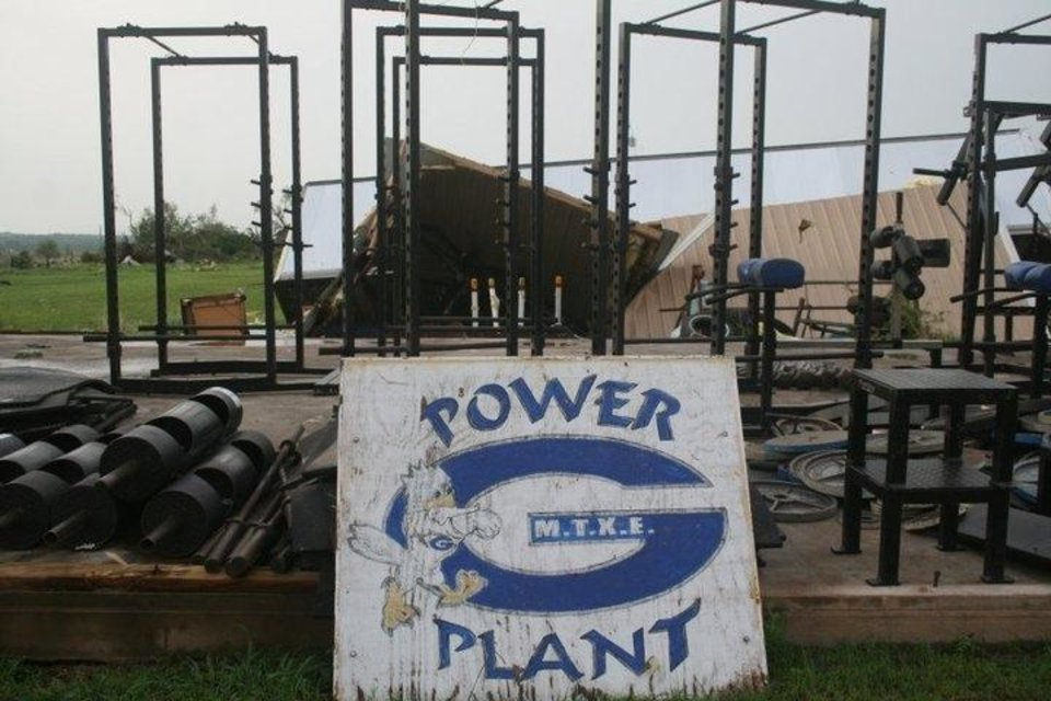 Guthrie schools' weight room was completely destroyed by Tuesday's storms. PHOTO BY CHRIS EVANS, GUTHRIE SPORTS PAGE (http://guthriesportspage.com/)