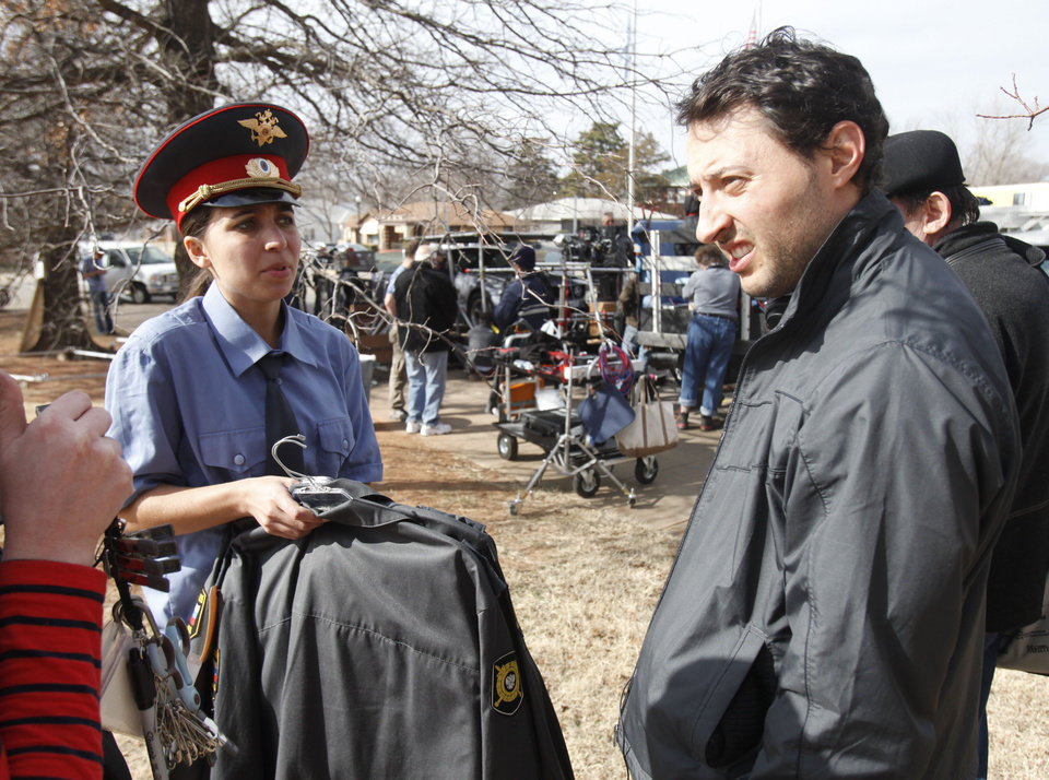 "Photo -  Actress Lidiya Korotko and Producer Peter Zhmutski discuss a scene for the 3-D horror / sci-fi movie ""Higher Mission"", being filmed in part at the Scottish Rite Tempel in Guthrie, OK, Friday, February 8, 2013,  By Paul Hellstern, The Oklahoman"