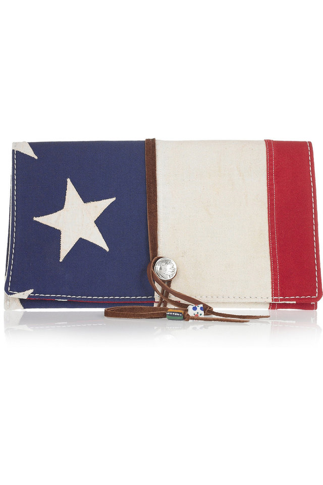 Photo - A few chic ways to accessorize this Fourth of July include this Totem Salvaged Appliqued cotton clutch $275. (Courtesy Net-a-porter.com via Los Angeles/MCT)