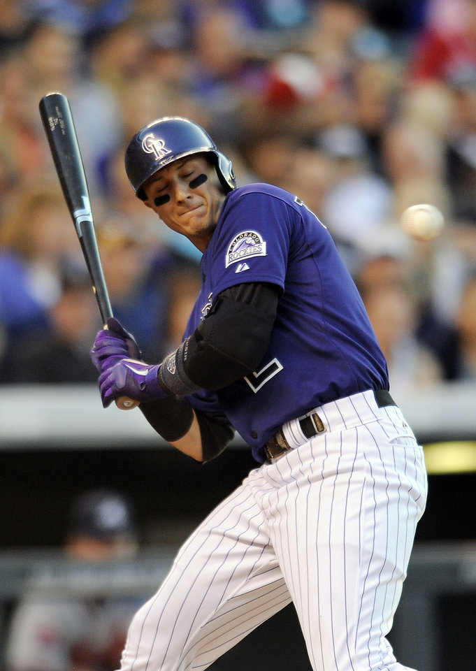 Photo - Colorado Rockies Troy Tulowitzki is brushed back by a pitch in the fourth inning of a baseball game against the Atlanta Braves on Monday, June 9, 2014, in Denver. (AP Photo/Chris Schneider)