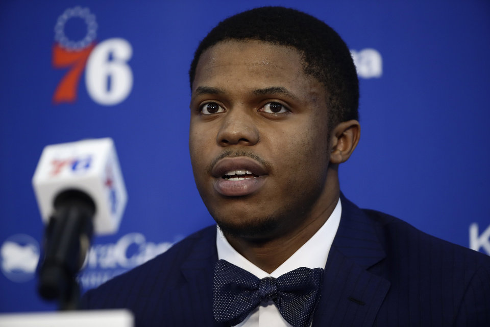 Photo - Philadelphia 76ers' Justin Patton speaks with members of the media during a news conference at the NBA basketball team's practice facility in Camden, N.J., Tuesday, Nov. 13, 2018. (AP Photo/Matt Rourke)