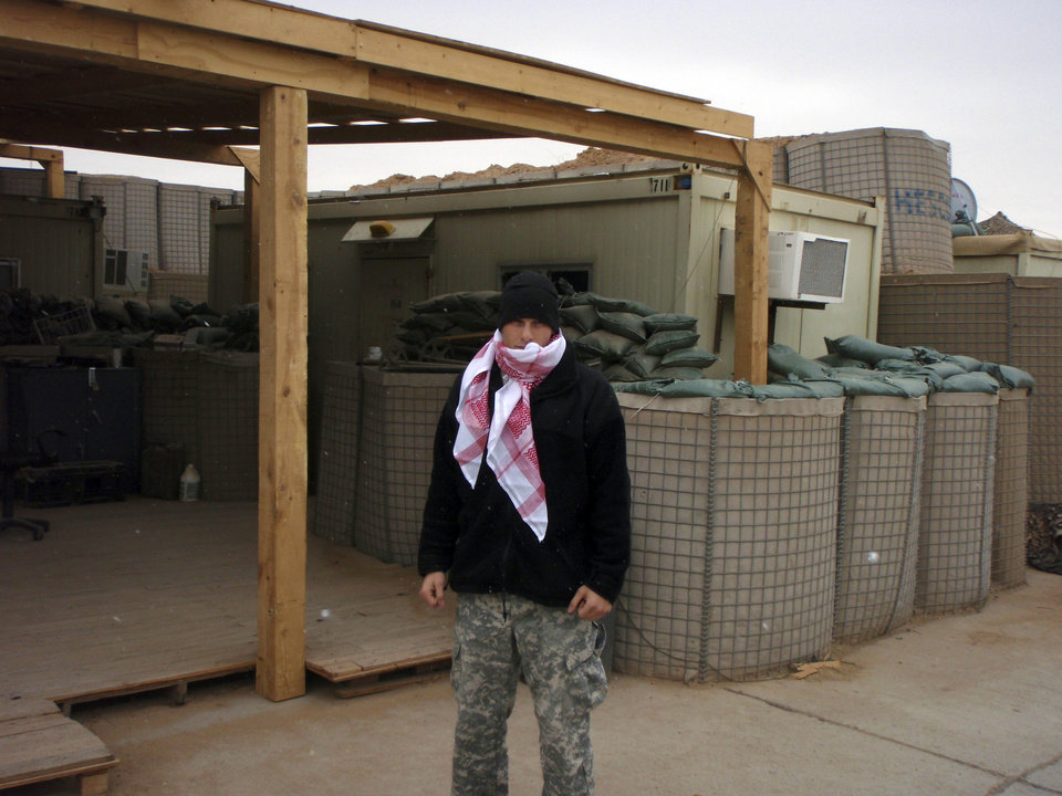1st. Lt. Michael Behenna in winter in Iraq. Photo provided by the Behenna Family