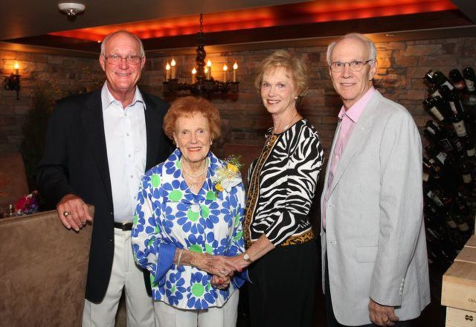 Bud Beeler, Lucy Beeler, Kay Blake, Jeff Beeler celebrated Lucy Beeler's 90th birthday all day recently. Her children, Barbara and Bud Beeler, Diana and Jeff Beeler and Kay Blake entertained family members at dinner in the Wine Room of the Oklahoma City Golf and Country Club and a birthday party was held in her honor at Canterbury Living Center. (Photo by David Faytinger).