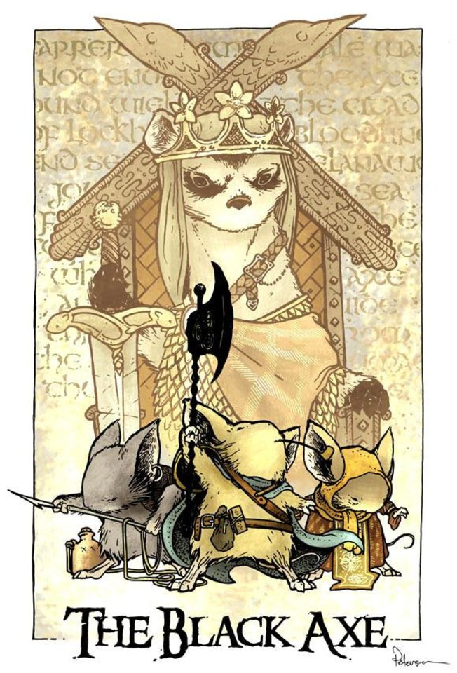 "Promotional art for the third Mouse Guard series, ""The Black Axe."""