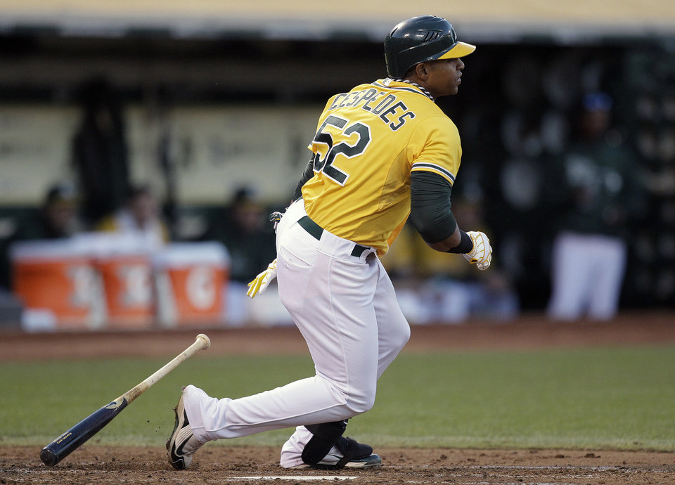 Photo -   Oakland Athletics' Yoenis Cespedes drops his bat after hitting an RBI-single off Baltimore Orioles' Zach Britton in the third inning of a baseball game on Saturday, Sept. 15, 2012, in Oakland, Calif. (AP Photo/Ben Margot)