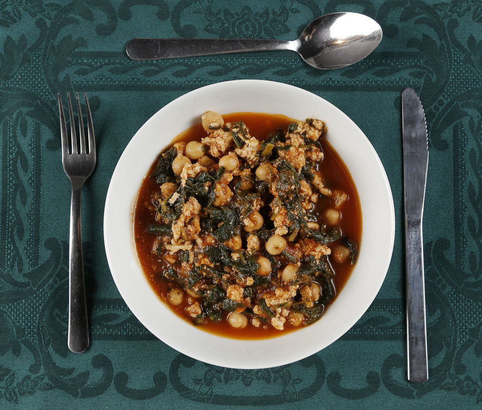 Using leftovers can be a healthy alternative for dishes like Turkey Soup with Garbanzo Beans and Spinach. <strong>DOUG HOKE - THE OKLAHOMAN</strong>