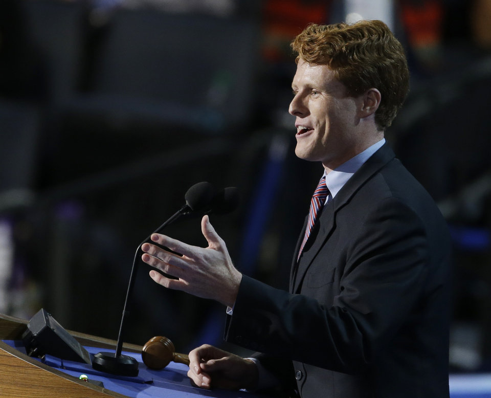 Photo - Joe Kennedy III, candidate for the House of Representatives from Massachusetts, speaks to delegates at the Democratic National Convention in Charlotte, N.C., on Tuesday, Sept. 4, 2012. (AP Photo/Lynne Sladky)  ORG XMIT: DNC459