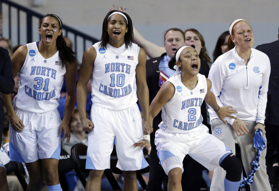 Photo - North Carolina's Erika Johnson, from left, Danielle Butts, Latifah Coleman and Whitney Adams react after guard Megan Buckland scored a 3-point basket during the first half of a second-round game against Delaware in the women's NCAA college basketball tournament in Newark, Del., Tuesday, March 26, 2013. (AP Photo/Patrick Semansky)