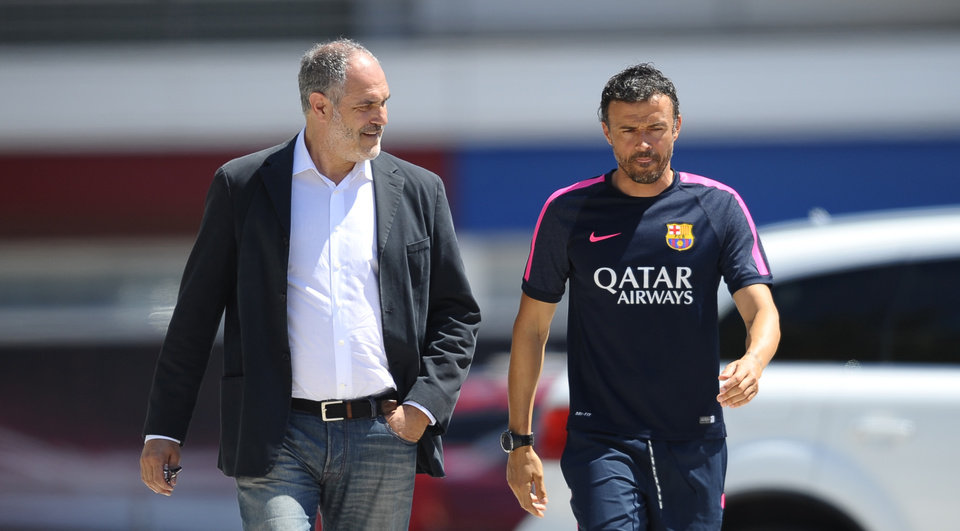 Photo - FC Barcelona's coach Luis Enrique, right, and Sports director Andoni Zubizarreta arrive for a press conference at the Sports Center FC Barcelona Joan Gamper in San Joan Despi, Spain, Wednesday, July 16, 2014. Enrique takes charge of the squad on Tuesday when the team begins training for the 2014/15 season. (AP Photo/Manu Fernandez)