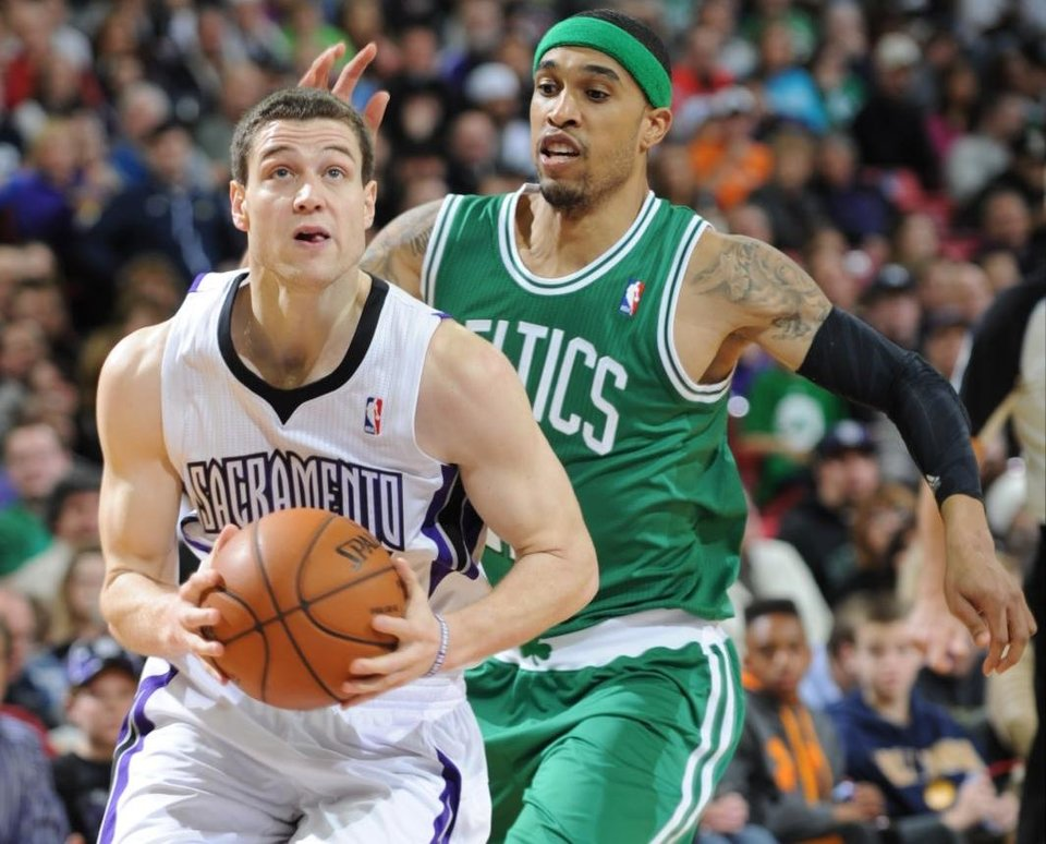 Jimmer Frdette of the Sacramento Kings drives to the basket against the Boston Celtics  during an NBA basketball game on Sunday, Dec. 30, 2012 at Sleep Train Arena in Sacramento, Calif. (AP Photo/ The Sacramento Bee, Hector Amezcua)MANDATORY CREDIT