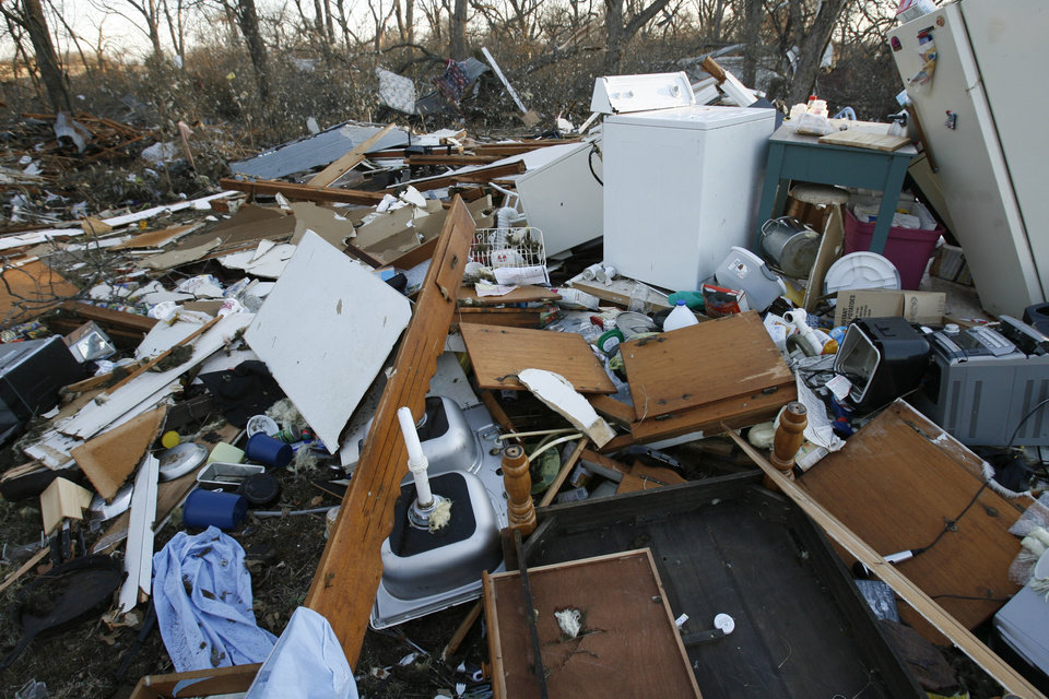 Photo - A home on Highway 70 was destroyed in Tuesday's deadly tornado in  Lone Grove, Okla. on Wednesday, Feb. 11, 2009.   Photo by Steve Sisney, The Oklahoman