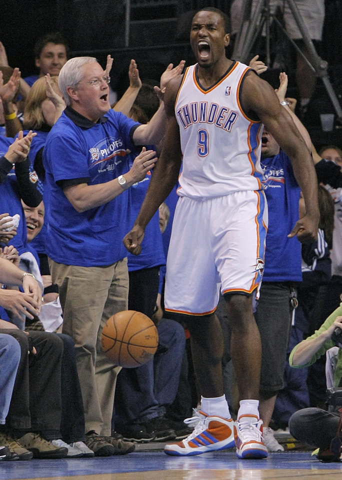 Oklahoma City\'s Serge Ibaka (9) reacts after blocking a Denver shot during the first round NBA playoff game between the Oklahoma City Thunder and the Denver Nuggets on Sunday, April 17, 2011, in Oklahoma City, Okla. Photo by Chris Landsberger, The Oklahoman