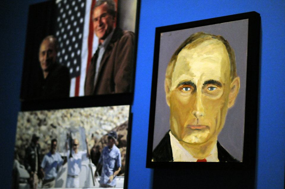 Photo - A portrait of Russian President Vladimir Putin which is part of the exhibit