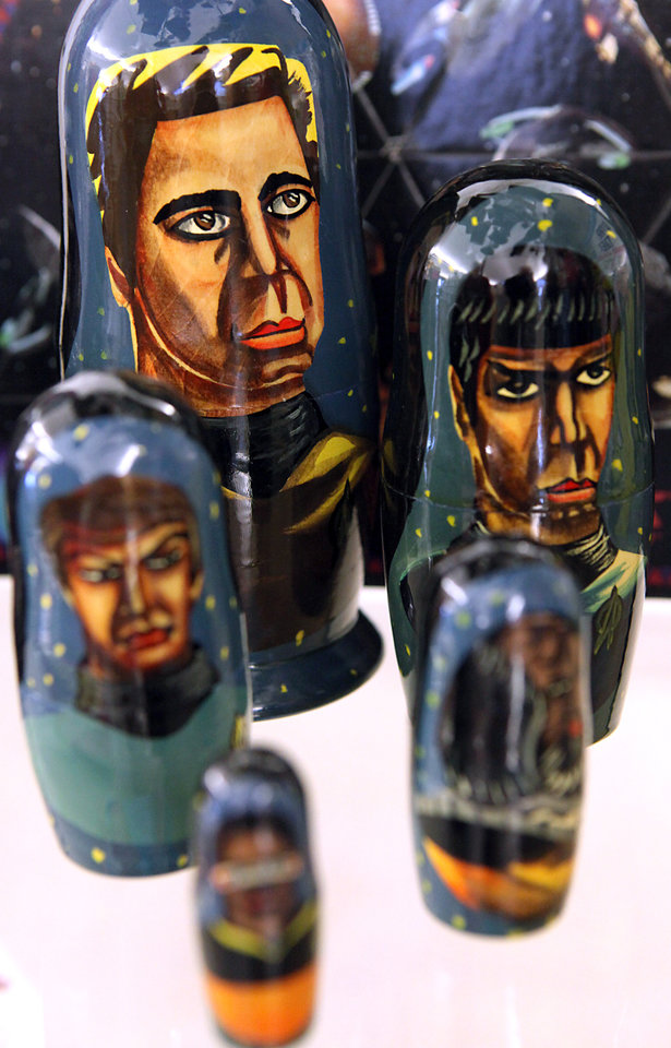 Photo - STAR TREK COLLECTION / COLLECT / COLLECTOR / NESTING DOLLS: Items from Butch Roberts' collection are on display at the Choctaw Library on Wednesday, Dec. 30, 2009. By John Clanton, The Oklahoman ORG XMIT: KOD
