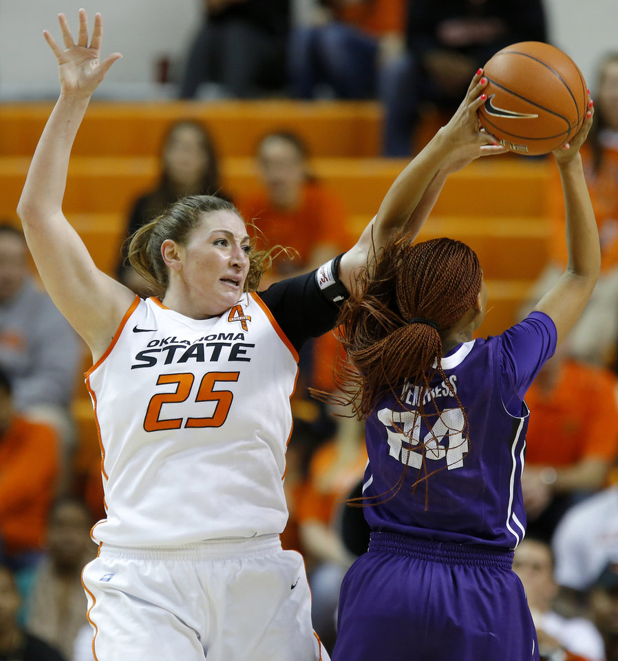 Oklahoma State's Lindsey Keller (25) defends TCU's Natalie Ventress (24) during a women's college basketball game between Oklahoma State University and TCU at Gallagher-Iba Arena in Stillwater, Okla., Tuesday, Feb. 5, 2013. Photo by Bryan Terry, The Oklahoman