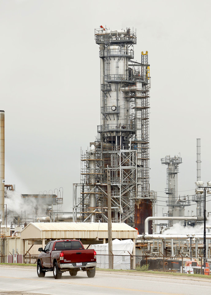 Scaffolding surrounds a tower Saturday at a Wynnewood refinery. The refinery was the scene of an explosion Friday that killed a worker and injured another.  Photo by Steve Sisney, the Oklahoman