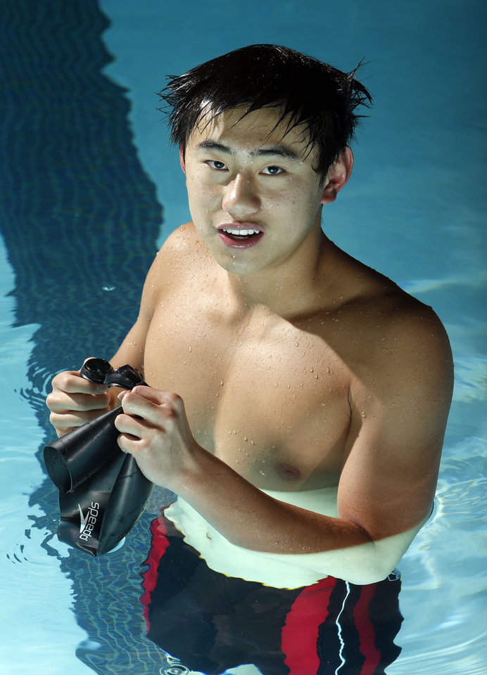 Photo - Norman North swimmer Justin Wu on Wednesday, Jan. 23, 2013 in Norman, Okla.   Photo by Steve Sisney, The Oklahoman  STEVE SISNEY - THE OKLAHOMAN