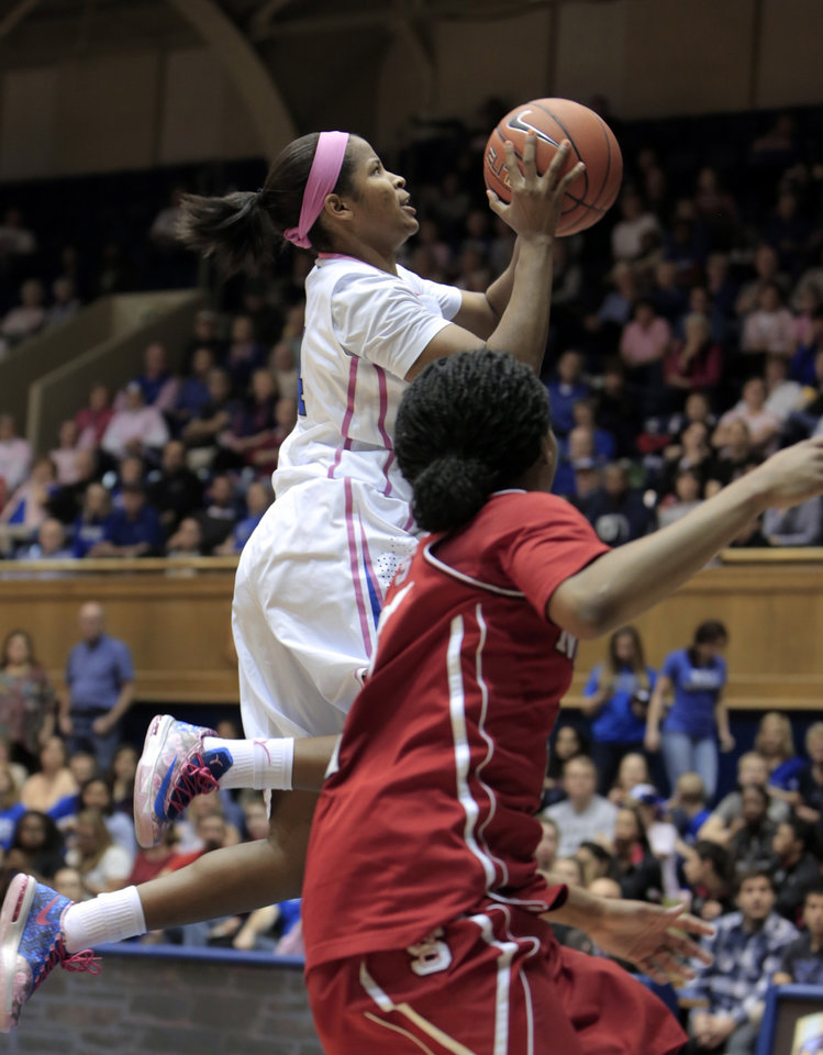 Photo - Duke's Ka'lia Johnson drives to the basket above NC State's Len'Nique Brown during the first half of an NCAA college basketball game in Durham, N.C., Thursday, Feb. 20, 2014.  (AP Photo/Ted Richardson)