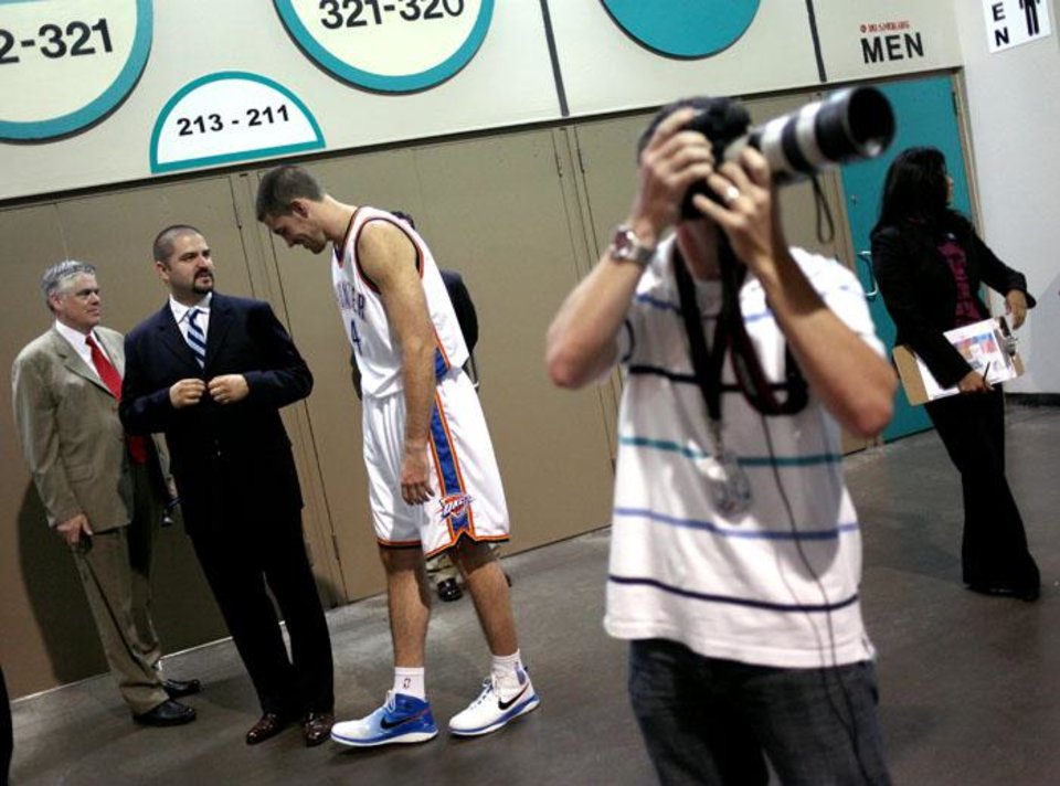 Photo -  during media day for the Oklahoma City Thunder at the Cox Convention Center in Oklahoma City on Monday, Sept. 28, 2009. By John Clanton, The Oklahoman