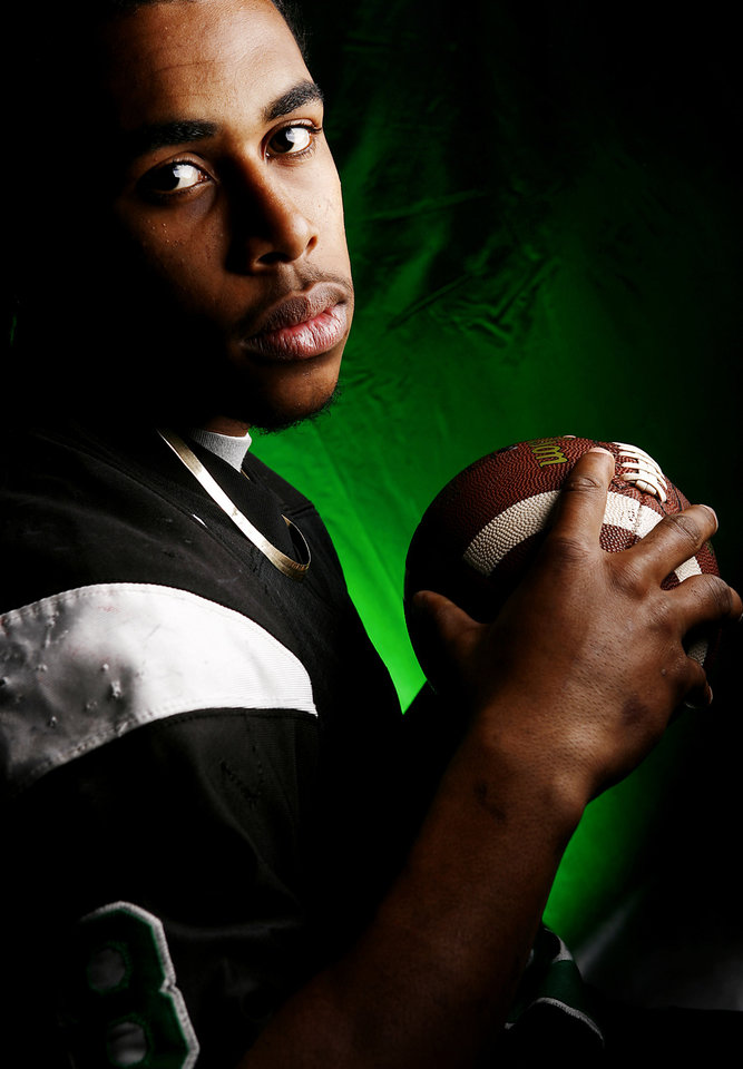 Jones High School\'s Tyrone Jackson All Little City Kick Returner. by Chris Landsberger, The Oklahoman