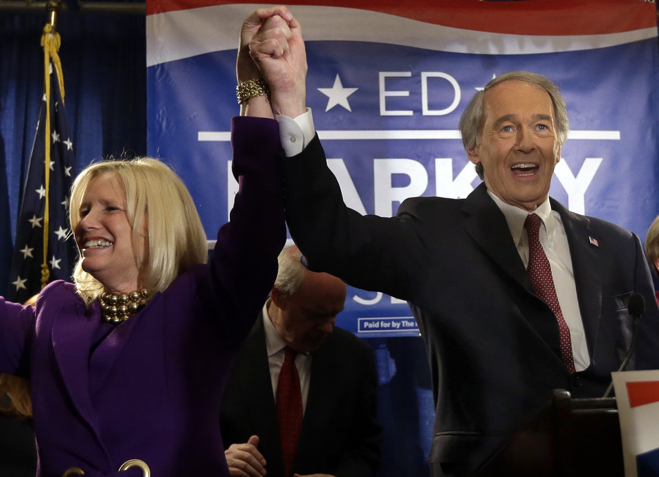 Photo - U.S. Senate candidate Ed Markey reacts with his wife, Susan Blumenthal, in Boston, Tuesday, April 30, 2013 as he celebrates winning the Democratic primary for the special U.S. Senate election. (AP Photo/Elise Amendola)