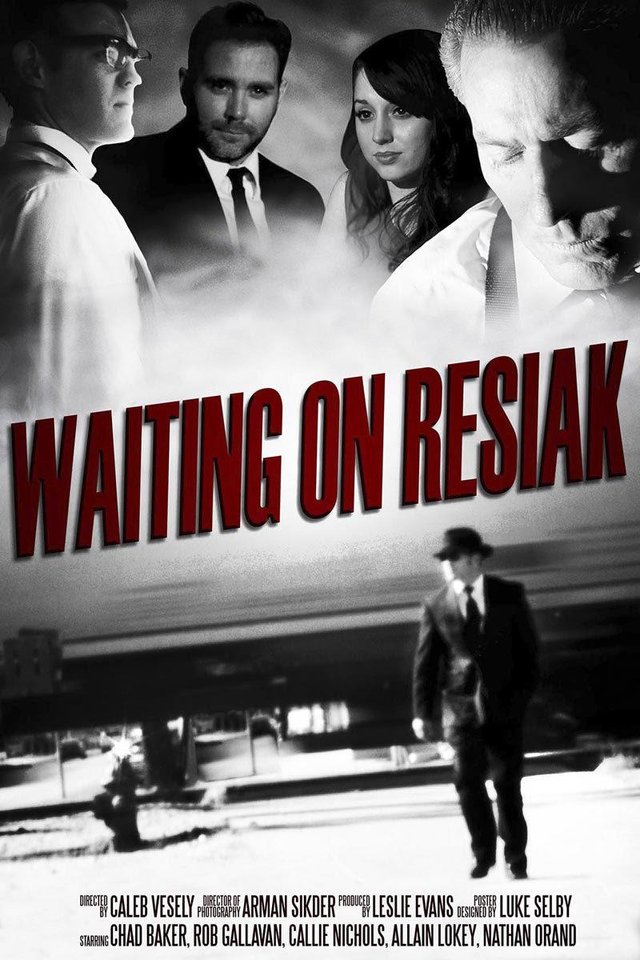 "Photo - A student-designed movie poster promotes the film ""Waiting on Resiak."""